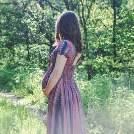 Mary in the Sunlit Path by Amanda Curtis - People Maternity ( maternity, nature, outdoor photography, sunlit, country )