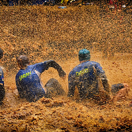 Producing Rain  by Marco Bertamé - Sports & Fitness Other Sports ( water, jeremy, splatter, splash, differdange, 2015, waterdrops, droplets, luxembourg, sitting, mud, strong, michele, clue, dirty, drops, david, four, stronmanrun, sarah )
