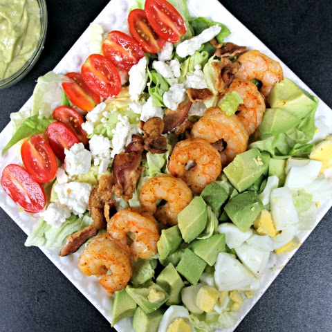 Spicy Shrimp Cobb Salad & Avocado Vinaigrette + {Giveaway}
