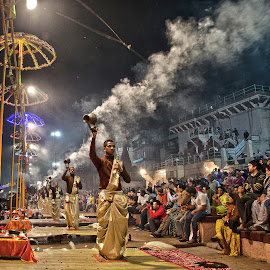 Ganga Arti as Dashwamedh Ghat by Susobhan Aich - City,  Street & Park  Street Scenes ( artistic, ganges, india, varanasi, people, religious, hinduism )