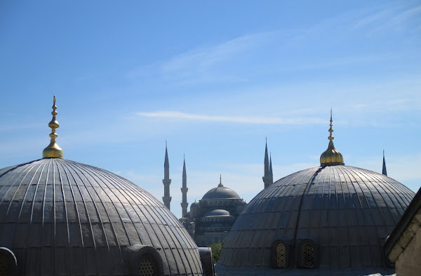 Sultan Ahmet Mosque seen from inside the Hagia Sophia