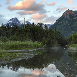 Spring Creek by Patricia Phillips - Landscapes Travel ( alaska creeks spring seward summer mountains clouds reflections )