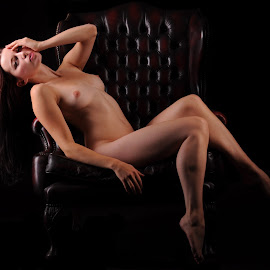 Helen in Repose by DJ Cockburn - Nudes & Boudoir Artistic Nude ( chair, reclining, art nude, sitting, woman, naked, helen diaz, curves, shadows )