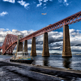 Trains and Boats and Planes by Tommy  Cochrane - Landscapes Waterscapes ( forth, scotland, plane, airplane, forth bridge, bridge, boat )
