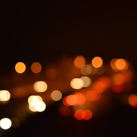 Car Lights Bokeh by Vagelis Baslis - Abstract Patterns ( abstract, lights, orange, red, highway, cars, white, yellow, bokeh )