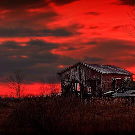 Night On Fire by Sandra Hilton Wagner - Landscapes Sunsets & Sunrises ( farm, orange, barn, sunset, brilliant, vibrant, landscape, dusk, decay )