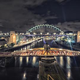 High Level Night by Adam Lang - Buildings & Architecture Bridges & Suspended Structures ( river tyne, slow exposure, high level bridg, gateshead, night, newcastle, tyne bridge, bridges )