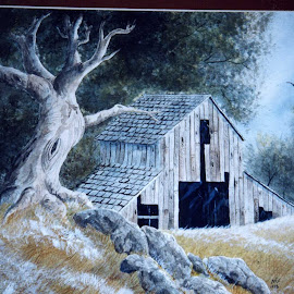 The old barn in the meadow by Jackie Nix - Painting All Painting ( tree, barn, acrylic, watercolor technique, rocks )