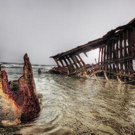 Ship wreck by Eric Demattos - Transportation Boats ( lost, worn, texture, eric demattos, ship wreck, decaying, fort stevens )