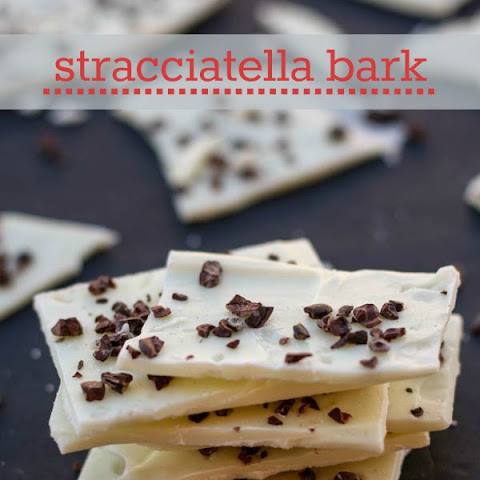 Stracciatella Bark- White Chocolate and Cacao Nibs