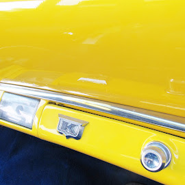 Kaiser by Cyndi McCoun - Novices Only Objects & Still Life ( car, interior, yellow, kaiser, classic )