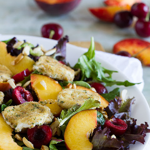Stone Fruit Salad with Fried Goat Cheese