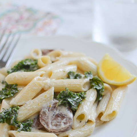 Gluten Free Lemony Goat Cheese Pasta with Sausage