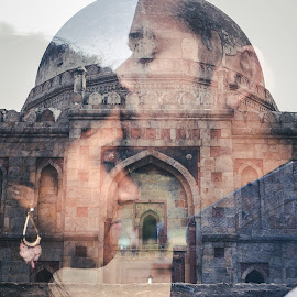 Exposed Twice by Kshitij Bhaswar - Wedding Bride & Groom ( love, canon, double exposure, multiple exposure, wedding, lovebirds, monument, couple, historical, indian wedding, marriage, canon eos )