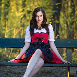 Girl in the park by Christian Holzinger - People Portraits of Women ( girl, park, linz, sunset, austria )