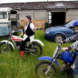 Bikes by Caroline Beaumont - People Family ( motorcycles, mother, bikes, helmets, son )