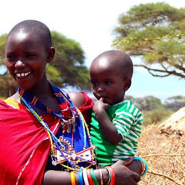 by Bornita Das - People Family ( masai, amboseli, mother and child, kenya, africa )