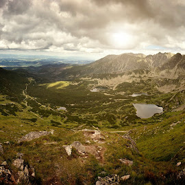 Tatry by Cyw Photography - Landscapes Travel ( clouds, water, mountains, sky, nature, tatry, lake, sunlight, sun, landscpae )
