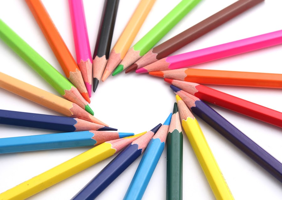 Multi Color pencils on white background by Sembodo Tioss - Products & Objects Education Objects ( creation, cutout, line, yellow, studies, education, multicolored, draw, circular, write, graphics, pink, artist, black, isolated, purple, green, art, backgrounds, oranye, white, colours, pencil, school, color, blue, lined, artistic, wave, rainbow, design, pencils )
