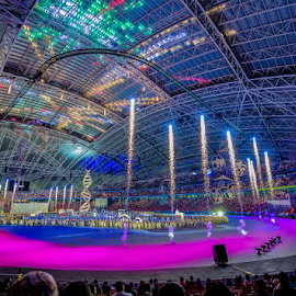 Celebrations by Kevin Chua - Abstract Fire & Fireworks ( opening ceremony, indoor, fireworks, sports hub, singapore )