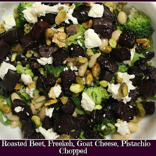 Roasted Beet, Goat Cheese, Freekeh, Pistachio Chopped