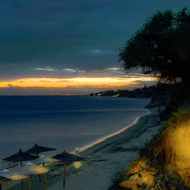 after sunset by John Triantafillopoulos - Landscapes Beaches ( epanomi, beatch, sunset, greece, twilight )