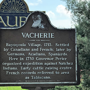 Bayougoula Village, 1713. Settled by Canadians and French; later by Germans, Acadians, Spaniards. Here in 1730 Governor Perier organized expedition against Natchez Indians. Early cattle raising ...