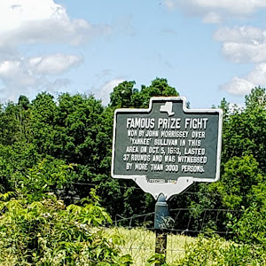 FAMOUS PRIZE FIGHTWON BY JOHN MORRISSEY OVER'YANKEE' SULLIVAN IN THISAREA ON OCT. 5, 1653, LASTED37 ROUNDS AND WA WITNESSEDBY MORE THAN 3000 PERSONSSubmitted by @jherskowitz