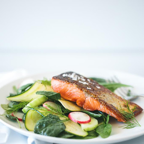 Crispy Skin Salmon with Zucchini, Cucumber and Dill Salad
