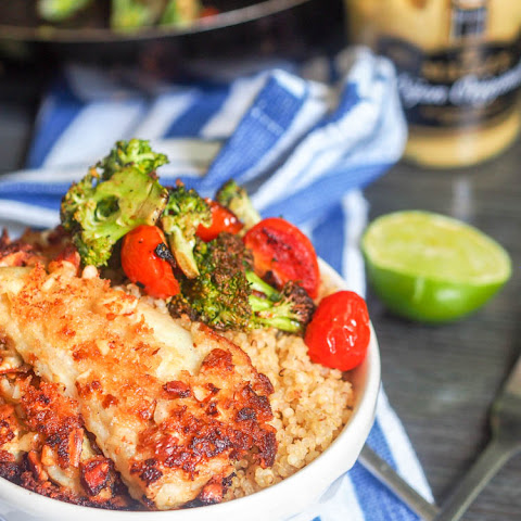 Panko Almond Crusted Fish with Quinoa Veggies and Tahini Mustard Sauce {GF, DF}