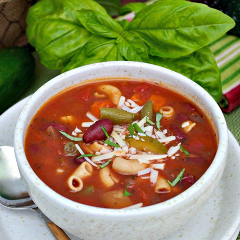 Minestrone Soup with Chickpea Pasta