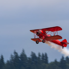 Smoke On... by Ron Mullins - Transportation Airplanes ( red, airplane, stearman, aircraft, bi-plane, airshow )