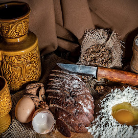 Still life composition 2 by Ovidiu Sova - Food & Drink Cooking & Baking ( cup, food, egges, bread, nuts, brown, knife )