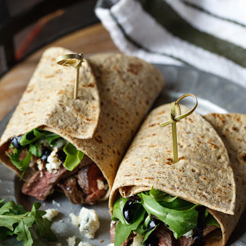 Steak and Blue Cheese Flatbread Salad Wrap