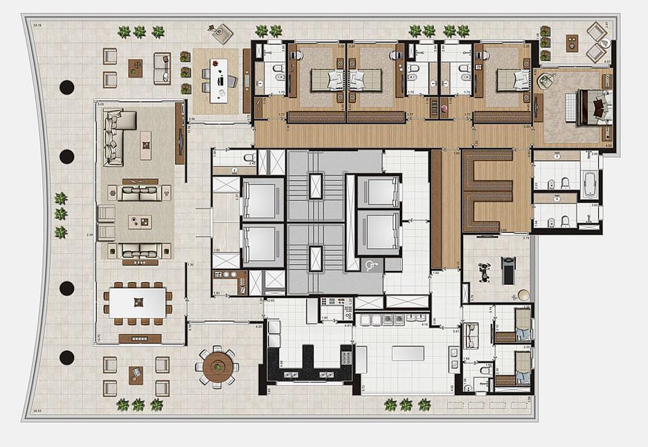 Planta Tipo - 632 m²