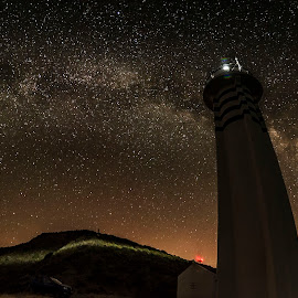 lighthouse by Enver Karanfil - Buildings & Architecture Other Exteriors ( sky, lighthouse, mauntains, stars, trees )