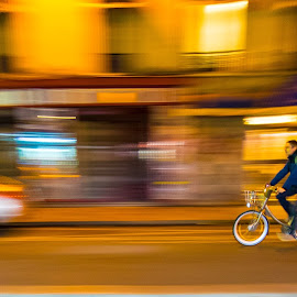 Paris by night by Puncte Jurnal Alternativ - Transportation Bicycles ( movement )