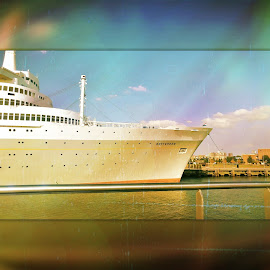 Ship Rotterdam by Redski Pictures - Illustration Products & Objects ( water, port of rotterdam, ship, holland, travel, transportation, boat, colours )