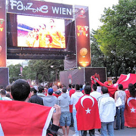 Turk Fans at Euro 2004 by Dennis Ng - City,  Street & Park  Street Scenes