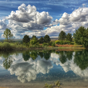 Reflections on the lake by Kathy Dee - Landscapes Cloud Formations ( clouds, nature, blue, summer, trees, reflections, lake )