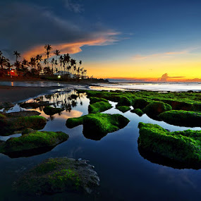The East Manyar by Hendri Suhandi - Landscapes Beaches ( clouds, bali, reflection, sky, manyar, waterscape, sunset, stone, long exposure, beach, sunrise, landscape )