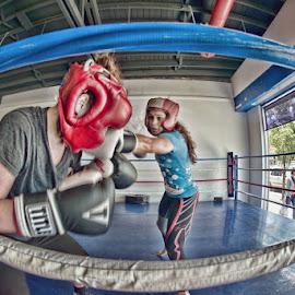 Left Cross by Critter Rettirc - Sports & Fitness Boxing ( punch, fisheye, sports, boxing, women )