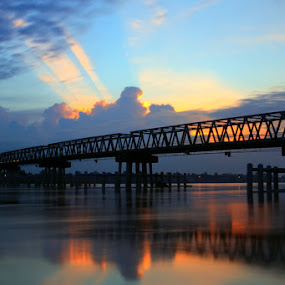 Aurduri Bridge jambi  by Muhammad  Firdaus - Landscapes Sunsets & Sunrises ( landscape reflections )