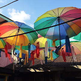 Rainbow Brollie by Vivian Chew - Novices Only Objects & Still Life ( chew jetty, penang, malaysia, rainbow, heritage,  )