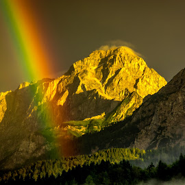 Rainbow by Bogomir Košir - Landscapes Weather ( sky, mountain, trees, forest, rainbow, sun, rain, mist )