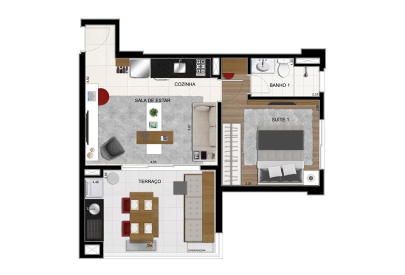 Planta Opção Final 6 - 51 m²