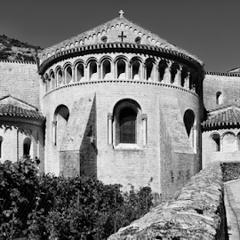 L'Abbaye Saint-Sauveur de Gellone  by Johannes Oehl - Buildings & Architecture Places of Worship ( old, languedoc-roussillon, french, architecture, heritage, historic, b/w, religion, ancient, religious symbol, lovely, pastoral, abbey, structure, church, vine, world heritage, worship, unesco, roof, european, season, monastery, brush, wall, cross, plant, monochrome, b&w, europe, black and white, brick, grapevine, romance, pretty, idyllic, august, france, construction, 11th century, quaint, building, abbey of gellone, peaceful, middle ages, black & white, beautiful, romantic, scenic, saint-guilhem-le-désert, black&white, history, vine stock, romanesque, summer, bow, public, dark age, medieval, unesco world heritage, world,  )