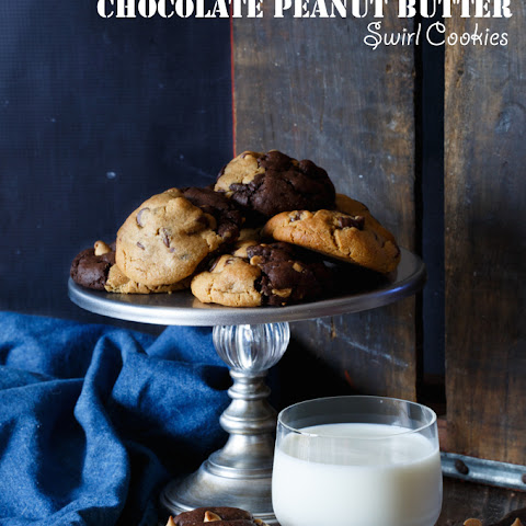 Peanut Butter Cup Stuffed Chocolate Peanut Butter Swirl Cookies