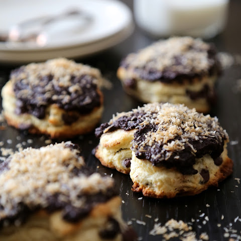 Dark Chocolate Heart Scones with Chocolate Ganache & Toasted Coconut