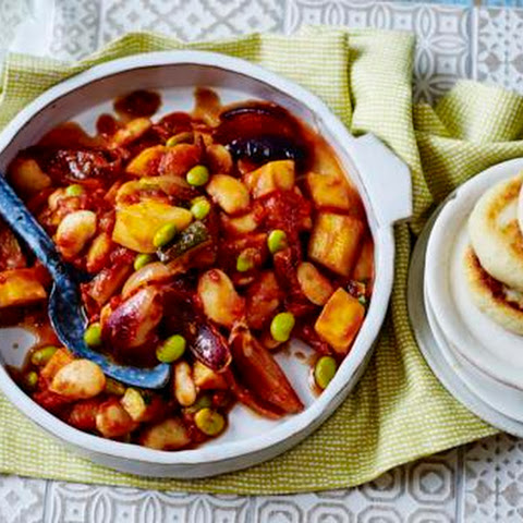 Mediterranean Bean Stew With Potato Griddle Cakes